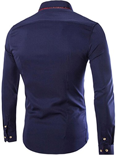 Jeansian Homme Chemises Business Slim Fit Fashion Manches Longues Men Casual Shirt Tops 8769 Navy