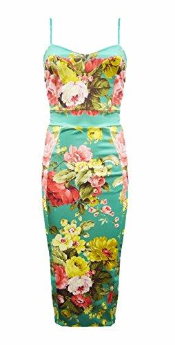 Generic - Robe - Moulante - Sans Manche - Femme Multicolore Bigarré Taille Unique Floral vert