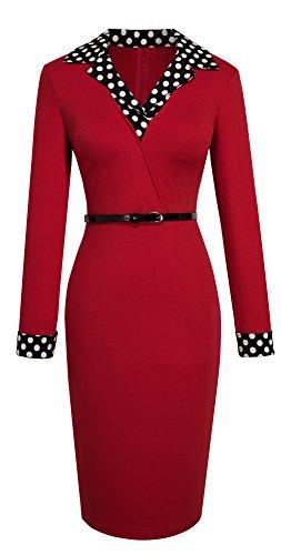 HOMEYEE Frauen elegante lange Hülse der roten Topf-Kragen-dünne Hautenges Formale Weinlese -Kleid B334 Rot
