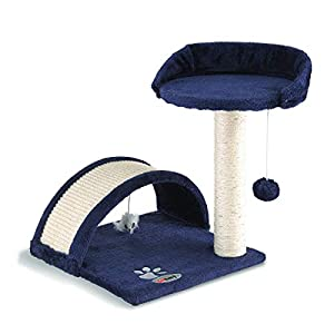 Fineway. Cat Canopy Kitten Tree Activity Centre Scratch Scratching Post Climbing Toy Bed- Easy To Assemble (NAVY BLUE)