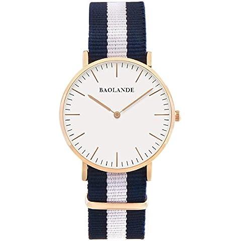 Alienwork Classic St.Mawes Reloj cuarzo elegante cuarzo moda diseño atemporal clásico Nylon oro rosa azul U04819G-02