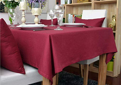 DOTBUY Rechteckige Tischdecke, Europäischer Stil Rechteckig Abwaschbar Faser Baumwolle Tischdecke Pflegeleicht Garten (100 * 140, Jujube rot)