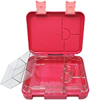 LunchGO Kids School Bento-Style Lunch Box | Leak-Proof 4 to 6-Compartments | Microwave and Dishwasher Safe | BPA-Free and Food-Safe Materials (Candy Red)