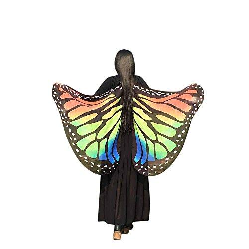 iYmitz Karneval Damen Faschingkostüme Halloween Stoff Party Schal Fee Schmetterling Flügel Kostüm Zubehör Schmetterlingsflügels Umhang(Orange,Free Size)