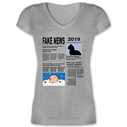 Karneval & Fasching - Fake News 2019 Kostüm Newspaper Zeitung - XXL - Grau meliert - XO1525 - Damen T-Shirt mit V-Ausschnitt (Zeitung Kostüm)