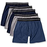 Amazon Essentials Men's 5-Pack Knit Boxer Short, Charcoal/Dark Blue/Navy, X-Small