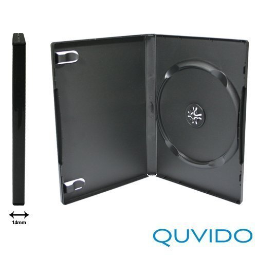 25 quvido Caja DVD Negro Simple 1 CD/DVD 14 mm