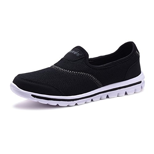 COODO Women's Slip-on Trainers Casual Sport Shoes CD8001 BLACK/WHITE-6.5