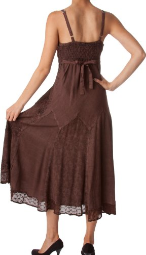 Sakkas Stonewashed Rayon brodée bretelles réglables Robe longue Chocolat