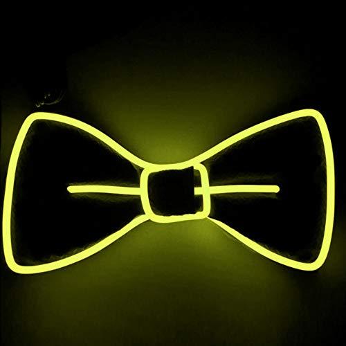 LED leuchten Fliege, JunYee Neuheit einstellbar leuchtende Fliege für Halloween Weihnachten, Party, Silvester Musik Festival (Gelb) (Musik Für Eine Halloween-party)