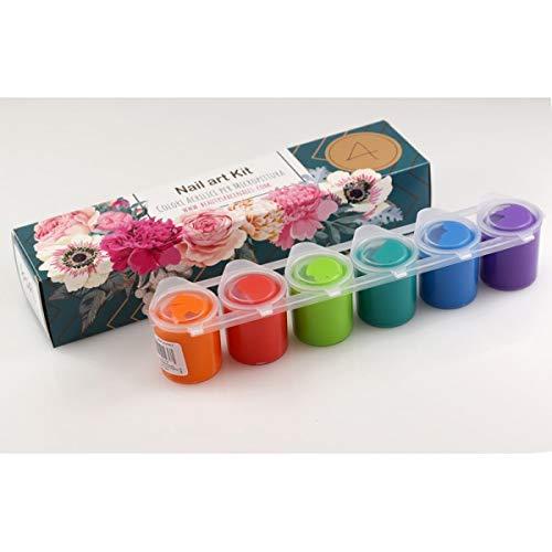 Acrylfarben Set für Nail Art und Micromalerei für die Dekoration der Nägel - Tempered Acrylfarben 6 Gläser bereits gebrauchsfertig - 150ml - KIT NAIL ART #4 (Nail-art-kit)