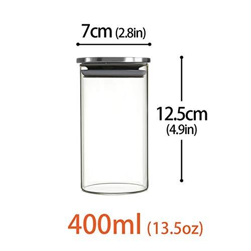 niuniuniu Geschlossener Glastank/Lebensmittellagertank/Glastank, Edelstahlüberzogener Tee Kaffeebohnen-Lagertank 400ml Butterfly Ginger Jar