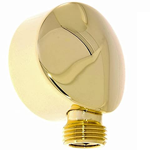 Daloual Elbow Wall Connector for Brass Shower Hose with Gold Plated Finish