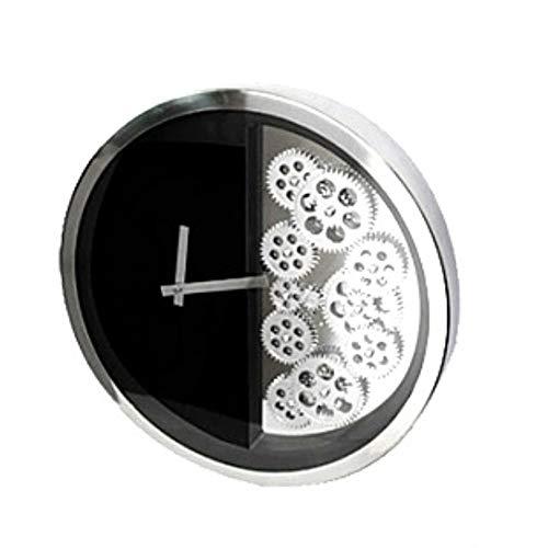 BGGZXX 16 Pulgadas Reloj De Pared del Engranaje Reloj De Pared Industrial del Viento, 40Cm * 40Cm, Creativo Personalidad Living Room Bedroom Bar,Black