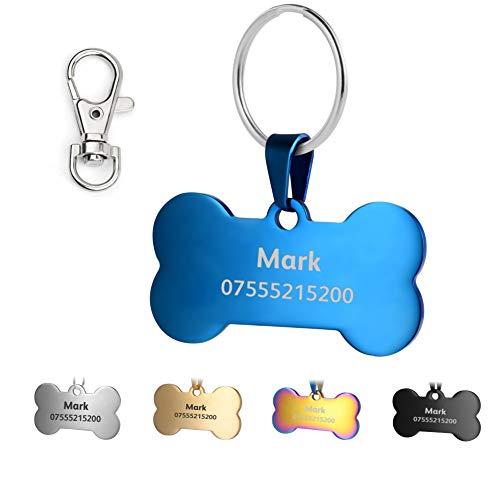 KSZ Etiquetas de identificación para Mascotas de Acero Inoxidable, Etiquetas Personalizadas para Perros y Gatos. Grabado Frontal y Trasero. Múltiples Colores (Azul, Hueso)