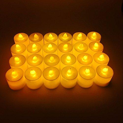 Velas LED Conjunto de 24 Topschoen velas de té eléctrica para cumpleaños, boda, fiesta, etc. (amarillo)