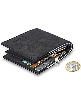MPTECK @ Negro Cartera para hombre Estilo plegable Monedero Billetera de PU Cuero con Bolsillo para monedas y...