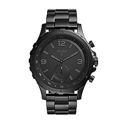 Fossil Herren Hybrid Smartwatch Q Nate - Edelstahl - Schwarz | Analoge Männeruhr Im Sportlichen Military-design Mit Smartfunktionen | Für Android & Ios