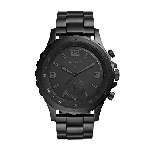 FOSSIL Hybrid Smartwatch Q Nate Black Stainless SteelMens Quartz Wrist Watch With Activity Tracker Water Resistant