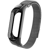 Pulsera Xiaomi Mi Band 3 Correas, ☀️Modaworld Correa magnética milanesa Venda Banda de Reloj de Acero Inoxidable para Xiaomi Mi Band 3 Correas de Reloj Inteligente (Negro)