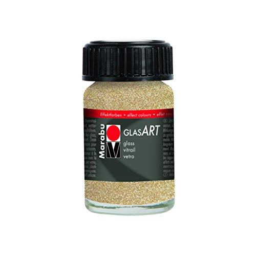 Marabu GlasArt Effekte frasco 15ml de pintura, con purpurina de cristal, oro, 3,2x 4,5x 3,2cm