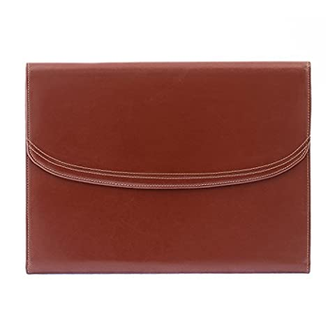 Cognac Genuine Leather Writing and Conference A4 Slim Folder Folio with Clipboard
