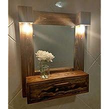 Mueble de baño, tocador con luces de madera reciclada de palet, ...