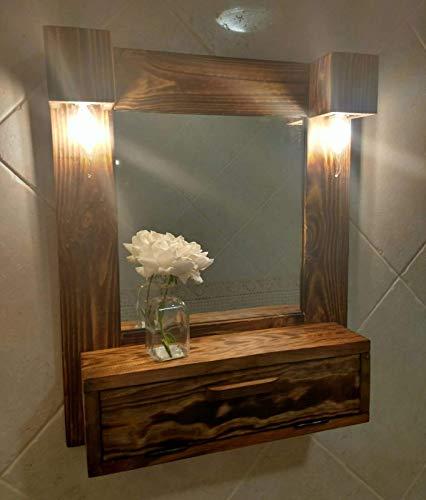 Mueble de baño, tocador con luces de madera reciclada de palet, hecho a mano