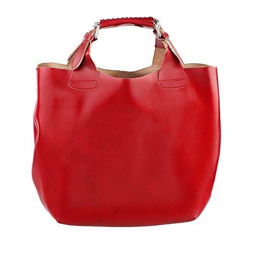 Borsa a Mano da Donna con Tracolla in Vera Pelle Made in Italy e Sacca Estraibile Interna in Cotone Chicca Borse 44x30x13 Cm Rosso