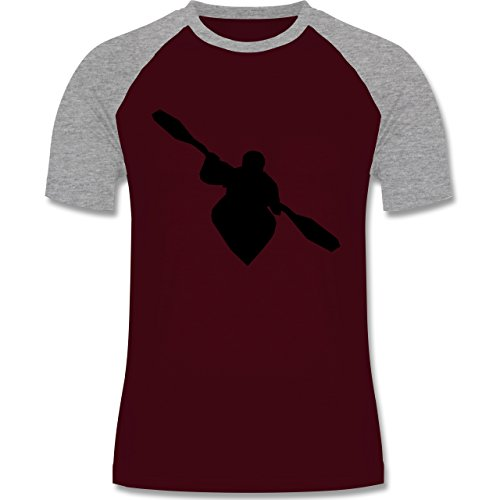 Shirtracer Wassersport - Kajak - Herren Baseball Shirt Burgundrot/Grau meliert