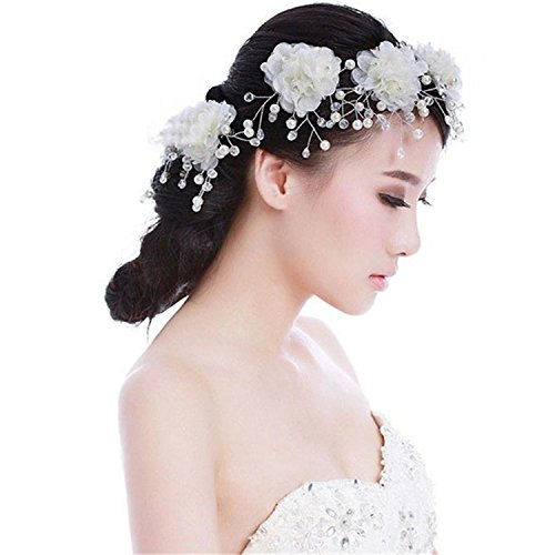 Rrimin 5PCS Beauty Pearl Cloth Bridal Hair Clips Wedding Dress Accesory