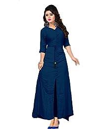 Vaidehi Creation Reyon Cotton Indo-Western Style Long Gown Kurti (Kurtas)
