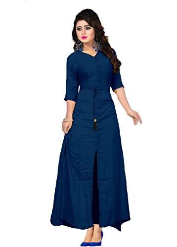 Vaidehi Creation Women's Cotton Gown Kurti (Vcrayon_Navy Blue_Free Size)