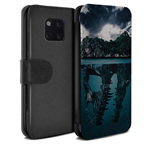 eSwish PU-Leder Hülle/Case/Tasche/Cover für Huawei Mate 20 Pro/Tropische Insel/T-Rex Muster/Dinosaurier Jurassic Earth Kollektion T-rex-mobile Handy