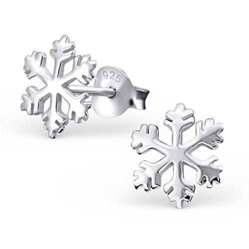925 Silber Schnee Flocken Ohrringe von Monkimau, Kinder-Schmuck, Sterling Silber, Damen, Frauen, Mädchen-Ohrstecker (Silber) (Nordpol-film)