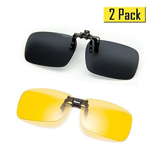 Cyxus [2 paquetes] (Clip On) deportes polarizado gafas de sol con a prueba de viento espejo lente, Hombres / mujeres sin aros al aire libre Gafas de protección Para esquí / bicicleta / pesca / correr / conducir / golf, negro y visión nocturna