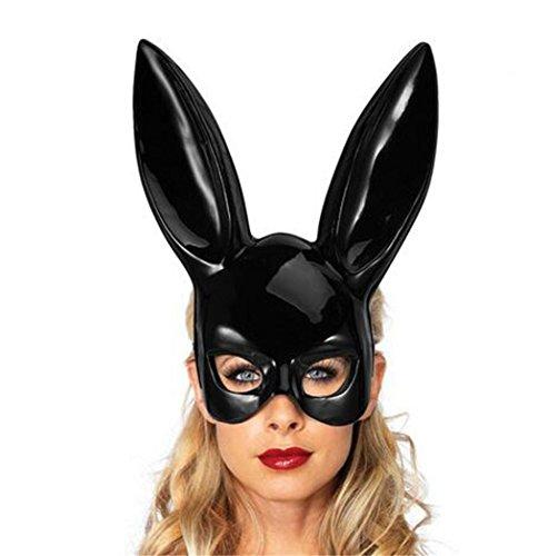 Masken FORH Cute Hasenohren Matte Maske Lustige Party Zubehör Masken Nachtclub Cocktail Party Ostern Weihnachten Halloween Karneval Kostüm Halbes Gesicht Maskerade Maske (Schwarz B) (Playboy Bunny Kostüm Schwarz)