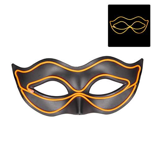 Draht leuchtet Halloween Cosplay LED Maske mit 4 Modi & Batteriehülle für Weihnachten, Geburtstag, Party, Geschenk, jede Festival-Party Orange ()
