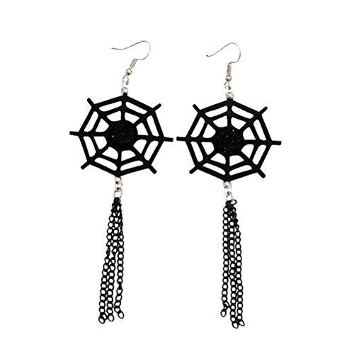 Geist Freundlicher Kostüm - Amosfun 1 Paar Halloween Schmuck Schwarz Spinnennetz Hexenkopf Ohrstecker Ohrringe für Frauen