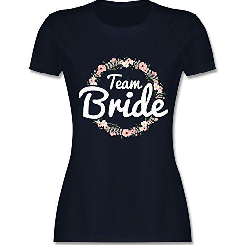 JGA Junggesellinnenabschied - Team Bride Blumenkranz - M - Navy Blau - L191 - Damen T-Shirt Rundhals