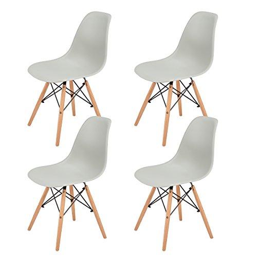 EGGREE Lot de 4 Chaise Salle a Manger Scandinave Chaises en Plastique et Les Jambes de Design Rétro - Gris