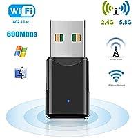 HANPURE WiFi USB Adapter, 600 Mbps WLAN Stick, Dualband 2.4G/5.8G, Mini Wireless Empfänger, Unterstützt Windows 2000/XP/Vista/7/8/10, Mac OS X10.4-10.11, Schwarz