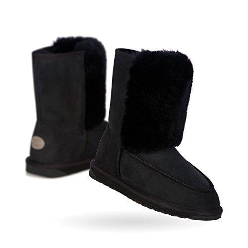 EMU Australia Damen Leder Boots Lammfell Water Resistant Stiefel Schwarz, Schuhgröße:40/41 (Lammfell Emu Stiefel)