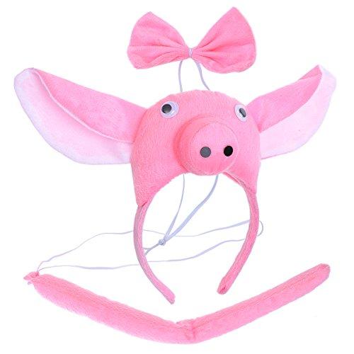 BESTOYARD Kinder Kostüme Schwein Kopf Stirnband mit Ohren Tier Schwanz Fliege für Cosplay Halloween Party Favors 3 Stück