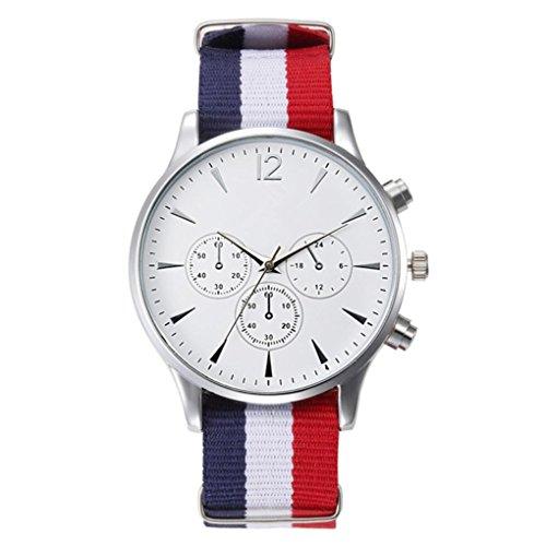 Sonnena Unisex Armbanduhren, Herren Damen Mode Casual Streifen Leinwandband Armbanduhren Klassik Herrenuhr Damenuhr Edelstahl Analoge Quarz Handgelenk Uhr Mechanische Uhr (Weiß)