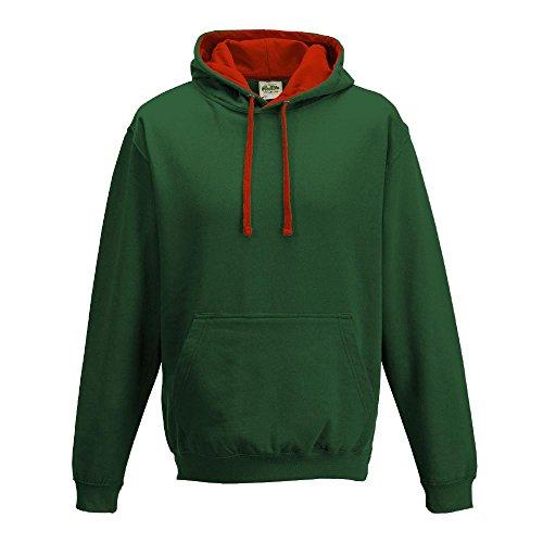 Just Hoods Varsity Sweat à capuche avec capuche couleur contrastée green - Bottle Green/Fire Red