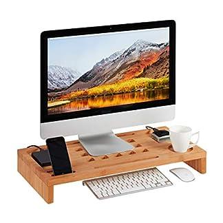 Relaxdays Soporte Monitor y Portátil para Escritorio, Madera de Bambú, Marrón, 8 x 60 x 30 cm