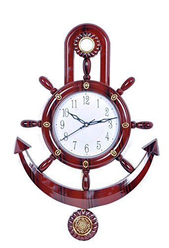 WebelKart Jaipur Crafts Decorative Retro Anchor Copper Pendulum Wall Clock (17 x 12 Inch; Brown)