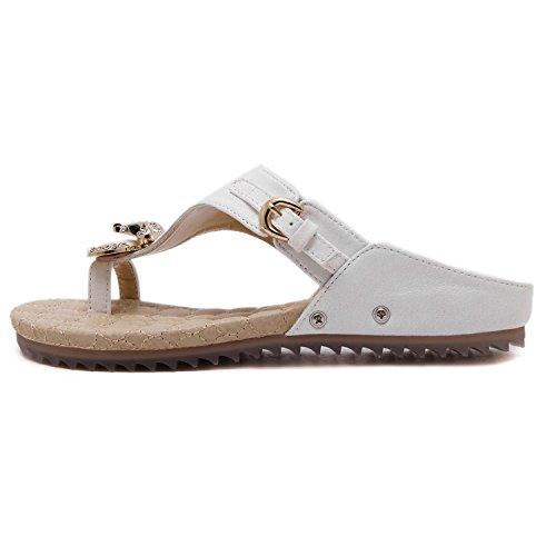ZOEREA Damen Zehentrenner Metallic Glitzer Sommer Sandalen Flach PU Leder Sommerschuhe Mädchen Weiß