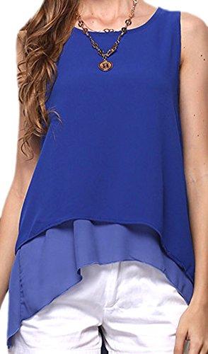 erdbeerloft - Damen Asymmetrisches Top im Lagen-Look, XS-L, Viele Farben Blau